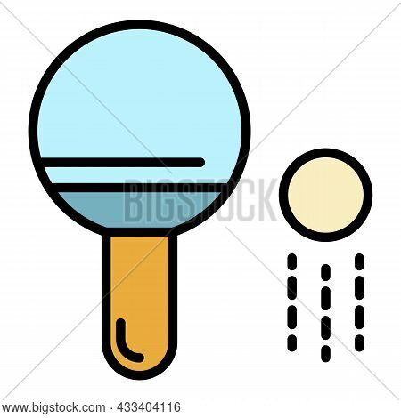 Ping Pong Paddle And Ball Icon. Outline Ping Pong Paddle And Ball Vector Icon Color Flat Isolated