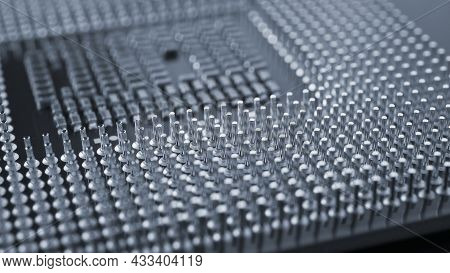 Computer Processor Close Up. Dark Gray Tinted Background Or Backdrop. Information Technology Wallpap