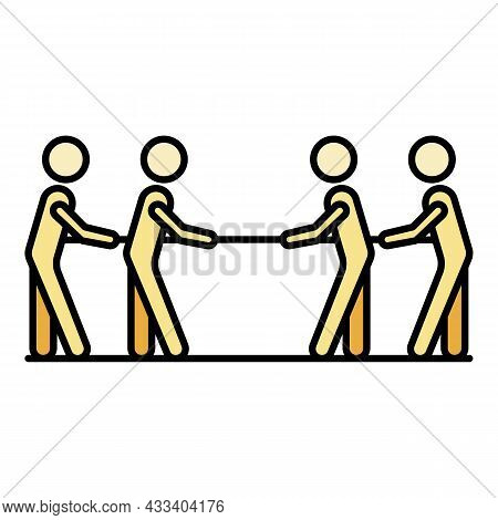Four People Tug Of War Icon. Outline Four People Tug Of War Vector Icon Color Flat Isolated