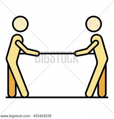 Conflict Tug Of War Icon. Outline Conflict Tug Of War Vector Icon Color Flat Isolated