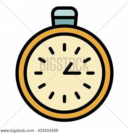 Stopwatch Chronometer Icon. Outline Stopwatch Chronometer Vector Icon Color Flat Isolated