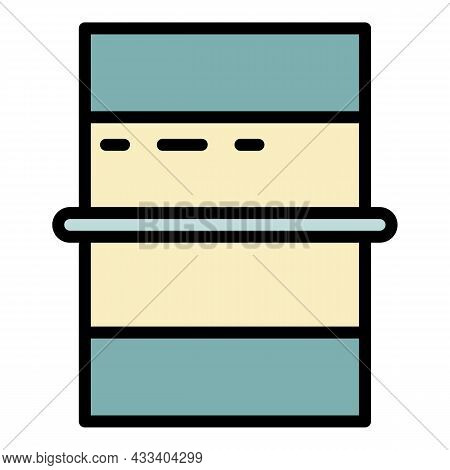 Volleyball Field Top View Icon. Outline Volleyball Field Top View Vector Icon Color Flat Isolated