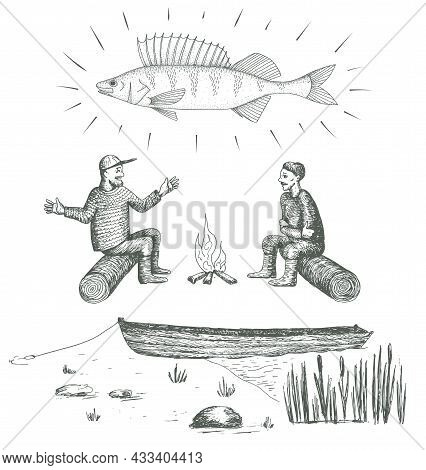 Fishermen. Big Fish. Perch. Boat On The Lake In Reeds. Hand Drawn Vector Image.