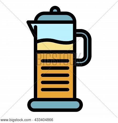 Kettle Coffee Icon. Outline Kettle Coffee Vector Icon Color Flat Isolated