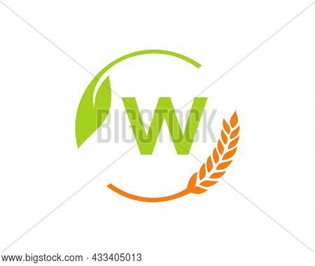 Agriculture Logo On W Letter Concept. Agriculture And Farming Logo Design. Agribusiness, Eco-farm An