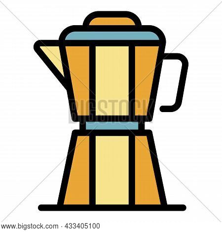 Coffee Prepare Kettle Icon. Outline Coffee Prepare Kettle Vector Icon Color Flat Isolated