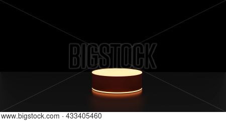 Glowing Display Stand Neon Light Display Black Background 3d Rendering