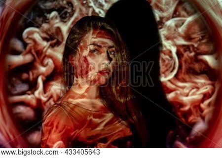 Art Portrait. Soul Energy. Zen Life. Philosophy Power. Calm Relaxed Woman In Double Exposure Abstrac