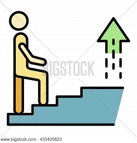 Career Stairs Icon. Outline Career Stairs Vector Icon Color Flat Isolated