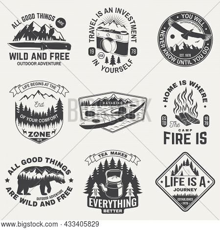 Summer Camp With Design Elements. Vector. Camping And Outdoor Adventure Emblems. Typography Design W
