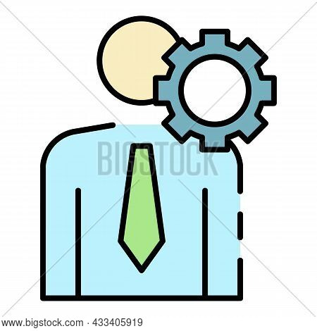 Business Corporate Man Icon. Outline Business Corporate Man Vector Icon Color Flat Isolated