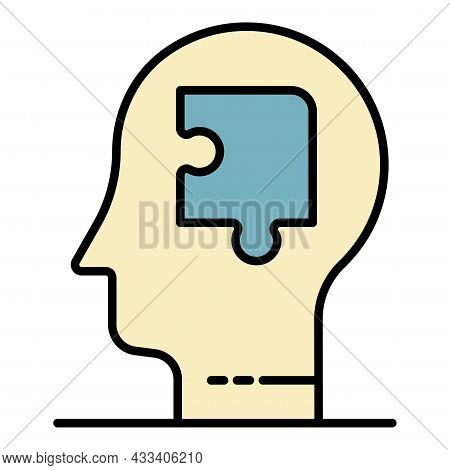 Puzzle Mind Man Icon. Outline Puzzle Mind Man Vector Icon Color Flat Isolated
