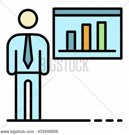 Corporate Man Business Icon. Outline Corporate Man Business Vector Icon Color Flat Isolated