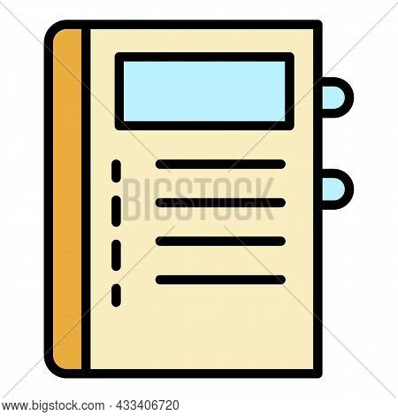 Notepad Icon. Outline Notepad Vector Icon Color Flat Isolated