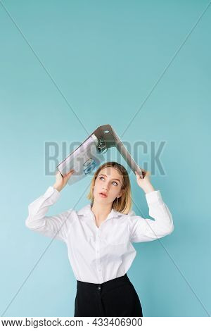 Project Fail. Shocked Woman. Hiding Problem. Bad News. Stunning Business Lady Covering Head With Fol