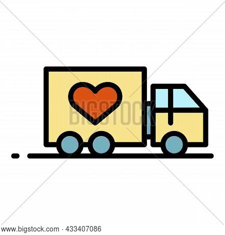 Volunteering Truck Icon. Outline Volunteering Truck Vector Icon Color Flat Isolated
