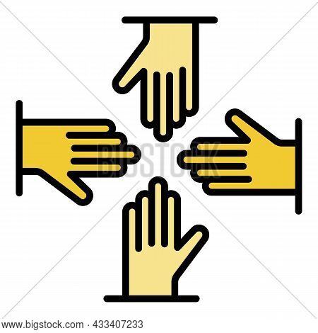 Volunteer Hand Group Icon. Outline Volunteer Hand Group Vector Icon Color Flat Isolated