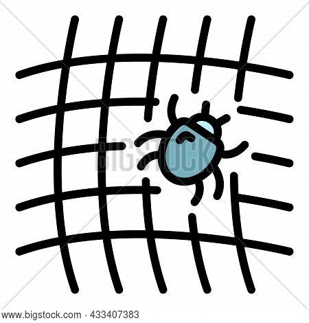 Mite On Net Icon. Outline Mite On Net Vector Icon Color Flat Isolated