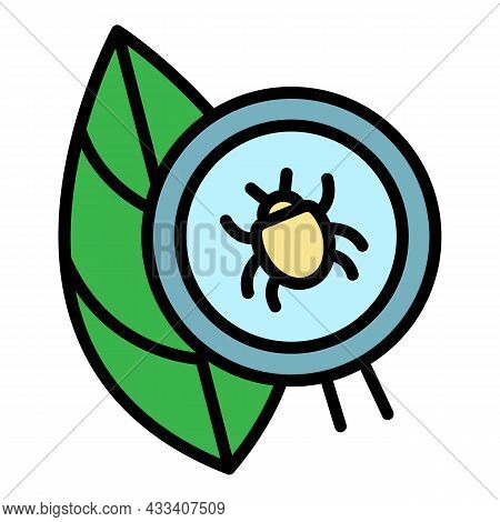 Mite On Leaf Icon. Outline Mite On Leaf Vector Icon Color Flat Isolated