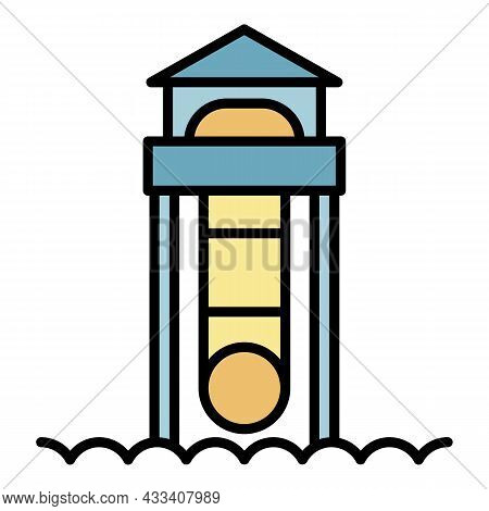 Child Water Slide Icon. Outline Child Water Slide Vector Icon Color Flat Isolated
