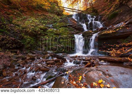 Shypot Waterfall Among The Rock In Evening Light. Beautiful Autumnal Nature Scenery In The Forest. W