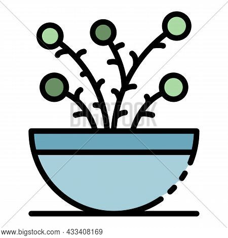 Houseplant Icon. Outline Houseplant Vector Icon Color Flat Isolated