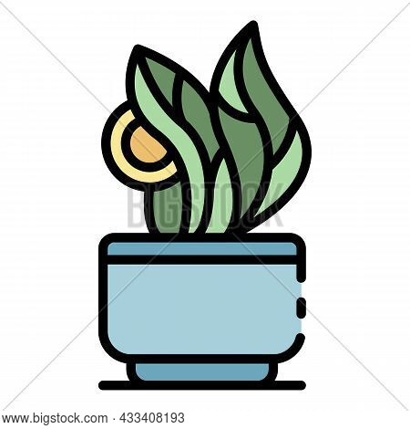 Leaf Houseplant Icon. Outline Leaf Houseplant Vector Icon Color Flat Isolated