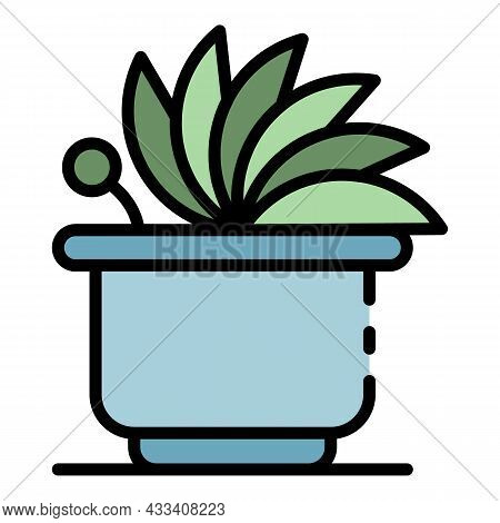 Cute Houseplant Icon. Outline Cute Houseplant Vector Icon Color Flat Isolated