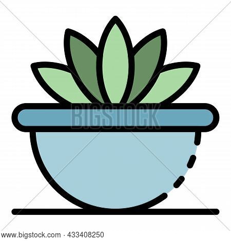 Succulent Houseplant Icon. Outline Succulent Houseplant Vector Icon Color Flat Isolated