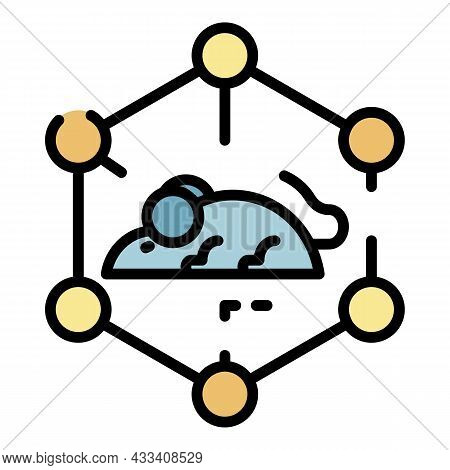 Molecular Lattice And Mouse Icon. Outline Molecular Lattice And Mouse Vector Icon Color Flat Isolate