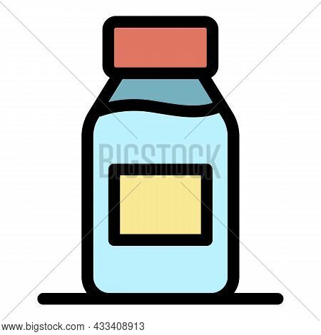 Cough Syrup Icon. Outline Cough Syrup Vector Icon Color Flat Isolated