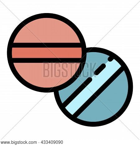 Aspirin Tablets Icon. Outline Aspirin Tablets Vector Icon Color Flat Isolated