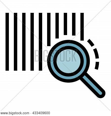 Barcode And Magnifying Glass Icon. Outline Barcode And Magnifying Glass Vector Icon Color Flat Isola