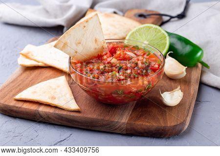 Salsa Asada Sauce With Tortilla Chips And Lime, Tex-mex Cuisine, Horizontal
