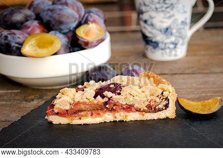 Piece Of Delicious Crumble Plum Tart, Homemade Plum Pie - Crumble Cake