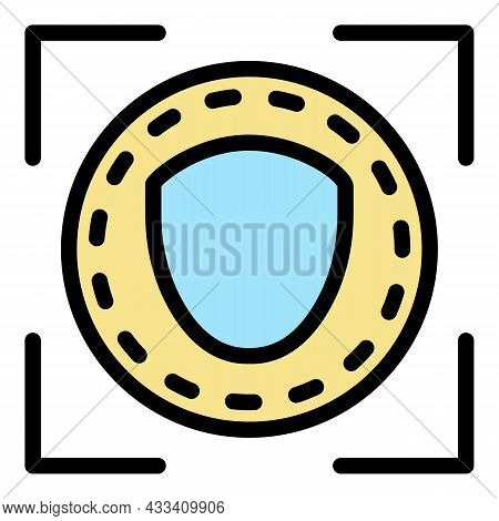Face Is Identified Icon. Outline Face Is Identified Vector Icon Color Flat Isolated