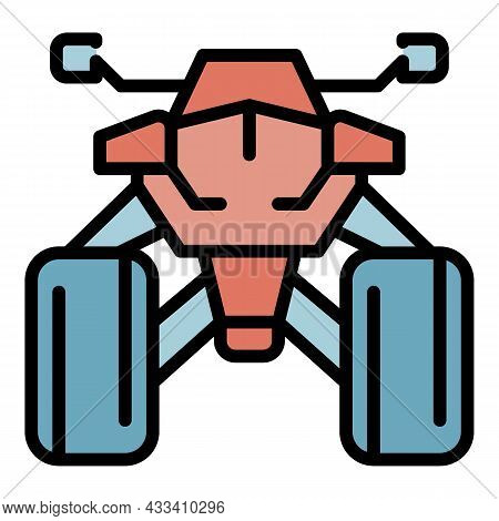 Front Quad Bike Icon. Outline Front Quad Bike Vector Icon Color Flat Isolated