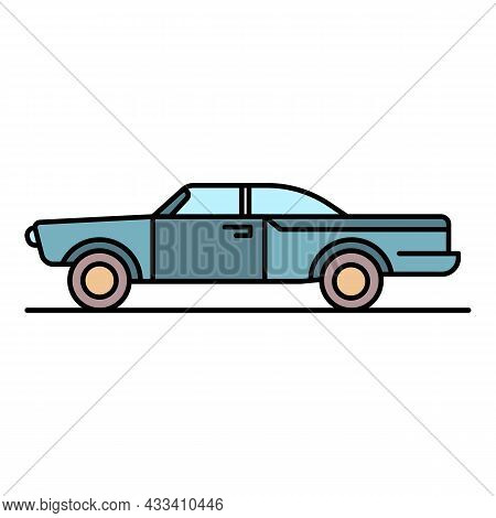 Retro Cabriolet Icon. Outline Retro Cabriolet Vector Icon Color Flat Isolated