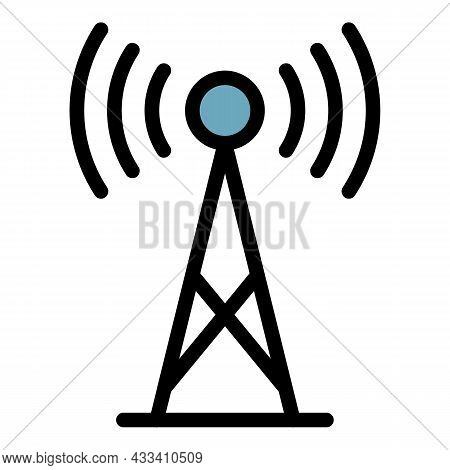 5g Antenna Icon. Outline 5g Antenna Vector Icon Color Flat Isolated