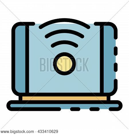 5g Laptop Network Icon. Outline 5g Laptop Network Vector Icon Color Flat Isolated