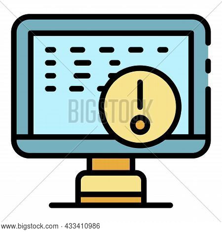 Hacking Computer Icon. Outline Hacking Computer Vector Icon Color Flat Isolated