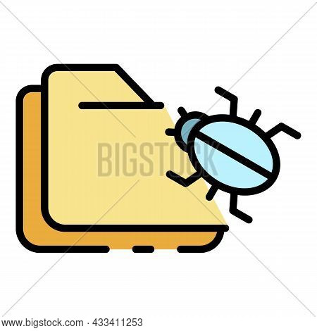 Infecting Folders Icon. Outline Infecting Folders Vector Icon Color Flat Isolated