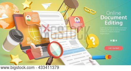 3d Vector Conceptual Illustration Of Online Document Editing, Collaborative Project Managing