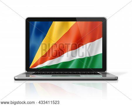 Seychelles Flag On Laptop Screen Isolated On White. 3d Illustration Render.