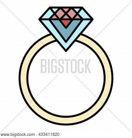 Emerald Wedding Ring Icon. Outline Emerald Wedding Ring Vector Icon Color Flat Isolated