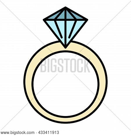 Classic Diamond Ring Icon. Outline Classic Diamond Ring Vector Icon Color Flat Isolated