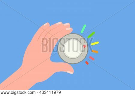 Flat Vector Conceptual Illustration Of Turning Knob, Volume Control Button