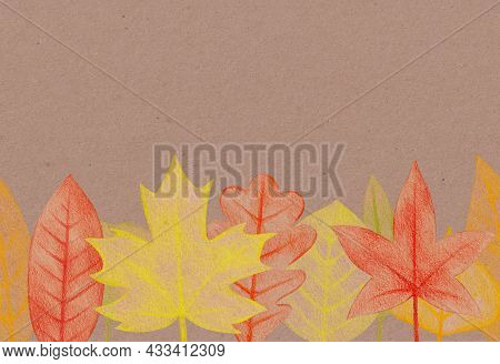 Seamless Border With Hand Drawn Yellow, Red Autumn Leaves With A Rough Texture. Plant Drawing With C