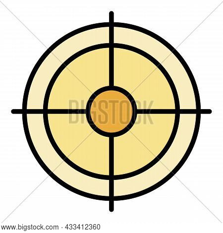 Shooting Target Icon. Outline Shooting Target Vector Icon Color Flat Isolated