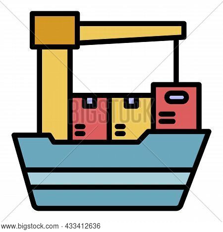 Export Ship Icon. Outline Export Ship Vector Icon Color Flat Isolated
